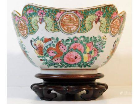A 20thC. Cantonese porcelain bowl 9in wide x 6.25i