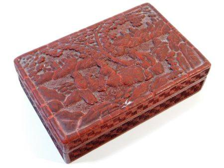 A c.1900 Chinese carved cinnabar lacquerware box 5