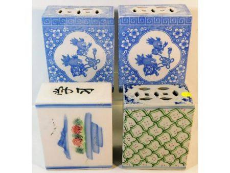 Four Chinese porcelain pillows average 5.625in hig