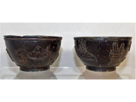 A pair of 19thC. Chinese wooden bowls with white m