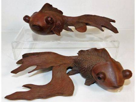 Two early 20thC. carved Chinese hardwood koi fish