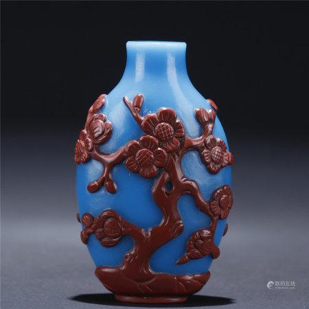 A wintersweet patterned glassware snuff bottle