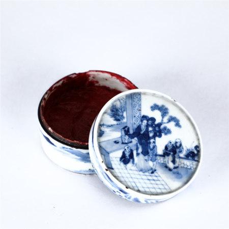 A blue and white figure porcelain inkpad box