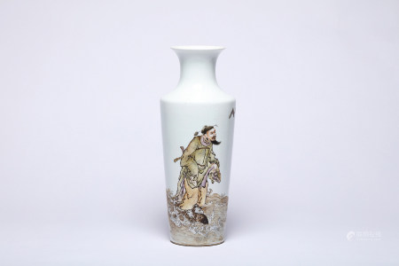 A Figural Famille Rose Vase with Wang Qi Mark