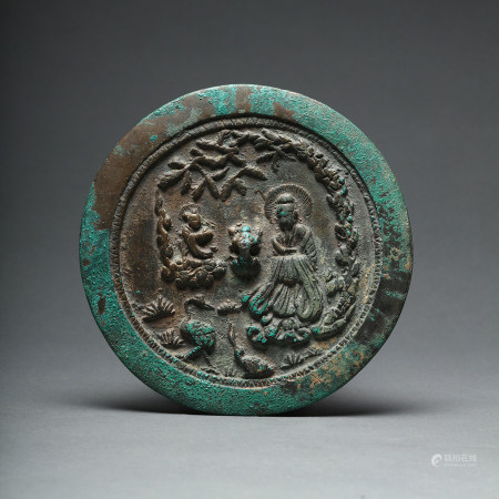A Liao Jin Period Immortal Tortoise and Crane Bronze Mirror