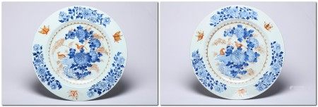 A Pair of Gilt Blue and White Bird with Floral Plates Qianlong Period