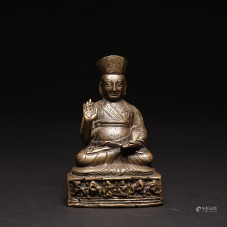 A 15th Century Gilt Bronze Figure of Gurudeva