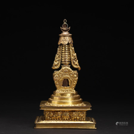 An 18th Century Tibetan Gilt Bronze Stupa Temple