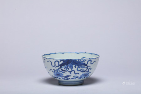 A Blue and White Floral Bowl Qing Kangxi Period
