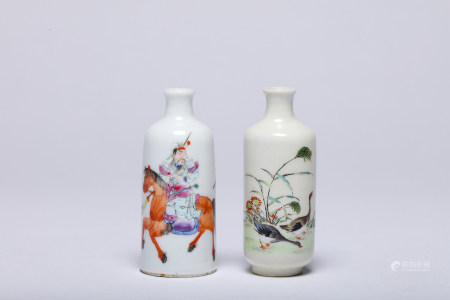 Two Famille Rose Snuff Bottles with Qianlong Mark