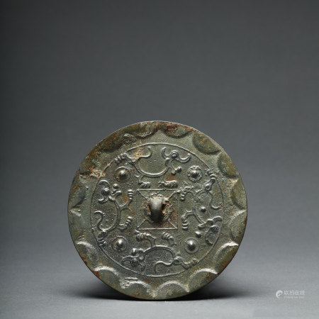 A Bronze Mirror with Four Mystical Beasts Han Dynasty
