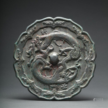 A Double Dragons Lobed Bronze Mirror Liao Jin Period