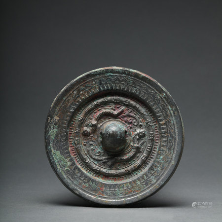 A Dragon and Tiger Bronze Mirror Han Dynasty