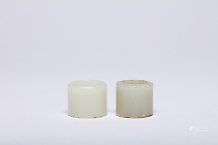A Group of Hetian White Jade Archery Thumb Rings Qing Dynasty