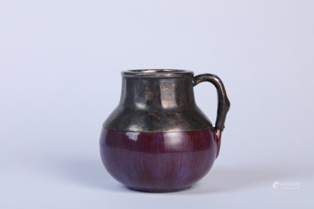 A Kiln Glazed Purple Splash Kettle with Yongzheng Mark