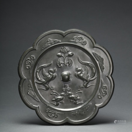 A Lobed Birds Bronze Mirror Tang Dynasty