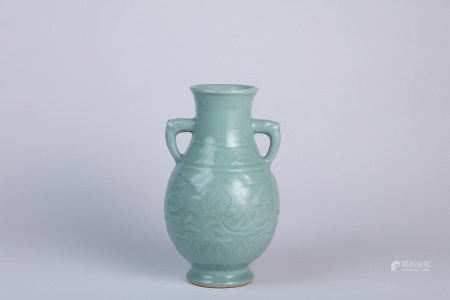 A Carved Celadon Vase with Dragon Handles Qianlong Period