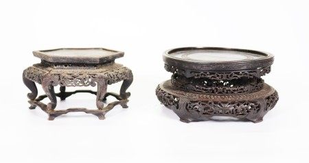 2 Fine Qing Dynasty Chinese High Hard Wood Stands