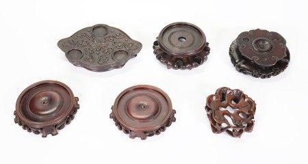 6 Fine Chinese Hard Wood Stands 3 Round 3 Shaped