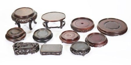 8 Good Chinese Round Hard Wood Stands; 3 Shaped
