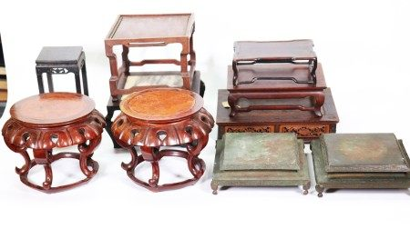 10 Chinese Rectangular & High Footed Wood Stands