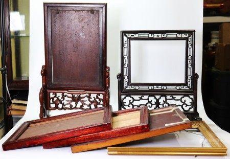 2 Chinese Hardwood Frames & Stands; 4 Frames