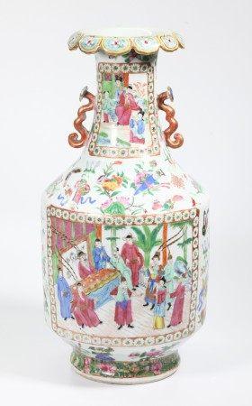Chinese 19 C Rose Mandarin Porcelain Vase
