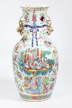 "Chinese 19 C Rose Mandarin ""Fabric"" Porcelain Vase"