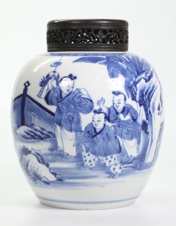 Chinese 19 C Blue & White Porcelain Ginger Jar