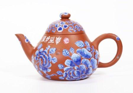 Chinese 19 C Blue Enamel Yixing Gourd Shape Teapot