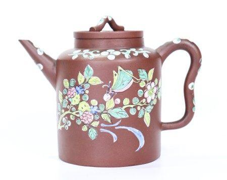 Chinese Enameled Yixing Tubular Teapot