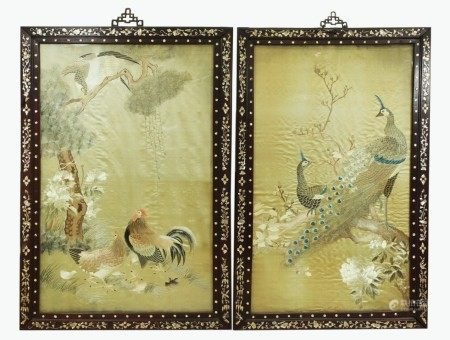 2 Chinese 19 C Silk Embroidery Shell Inlay Frames