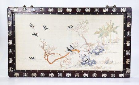 Chinese Horizontal Embroidery Inlay Hardwood Frame