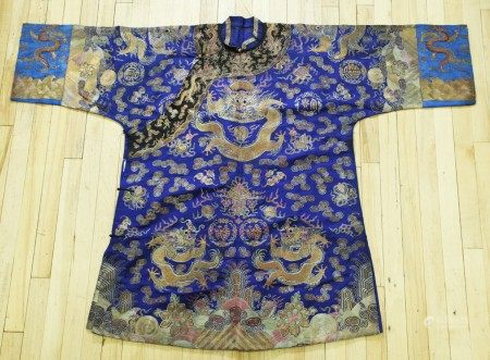 Chinese Dragon Embroidered Robe Gold on Blue