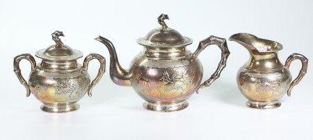 Chinese Silver 3 Piece Dragon Teapot Set;1,282G