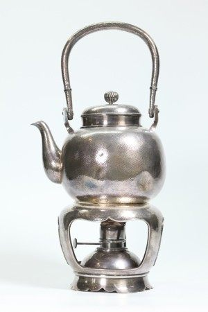 Japanese Hammered Silver Teapot & Lamp Stand; 980G