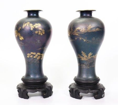 Pair Chinese Fujian Blue Lacquer Meiping Vases