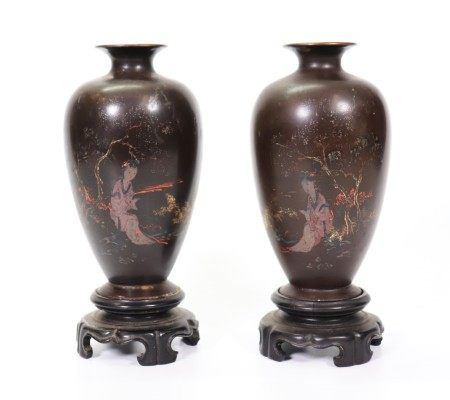 Opposing Pair Chinese Fujian Lacquer Vases