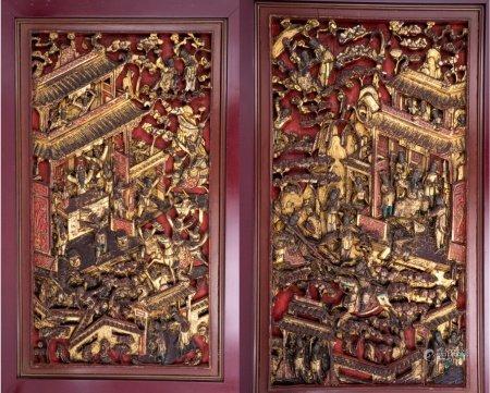 晚清 配对潮州精工浮雕古典著名人物贴金朱漆窗花
