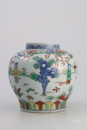 明代晚期 五彩青花人物山石纹罐