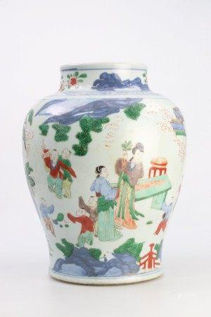 清代康熙时期 五彩青花士女婴戏图罐