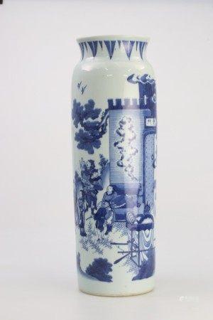 明末清初过渡期17世纪 青花人物纹筒瓶