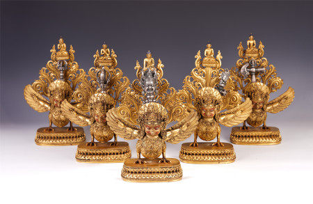 A SET OF CHINESE GILT BRONZE  BUDDHIST GUARDIAN STATUES
