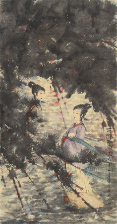 CHINESE SCROLL OF PAINTING BEAUTY GIRLS UNDER PINE TREE