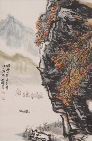 A CHINESE SCROLL OF PAINTING MOUNTAINS FIGURE STORY