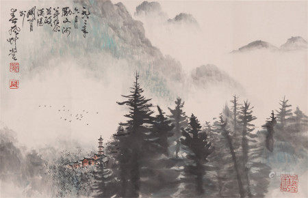 A CHINESE INK PAINTING OF MOUNTAINS SCENERY