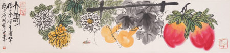 A CHINESE PAINTING OF CHRYSANTHEMUM GOURD PEACH MEANS WEALTH&LONGEVITY