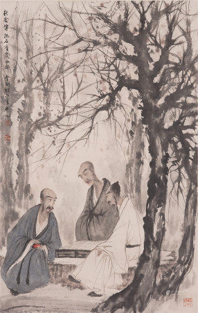 A CHINESE SCROLL PAINTING OF ELDER IN FOREST