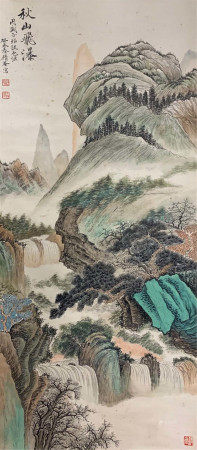 CHINESE SCROLL OF PAINTING WATERFALL IN AUTUMN MOUNTAINS