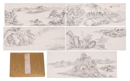 A CHINESE ALBUM OF INK PAINTINGS MOUNTAINS FOREST SCHOLARS